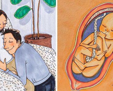 Egy művész szívmelengető rajzok sorozatában dokumentálja várandóssága útját